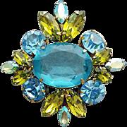 Stunning Rhinestone Brooch Huge Vintage Regency Sparkle