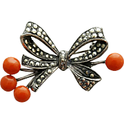 1920s Art Deco Brooch Coral Marcasite European Sterling 900