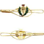 1950s - 1960s Men's Scottish Tie Bar Thistle Gold Plated Jewelry