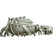 Vintage Noah's Ark Pewter Brooch by J.J. Jonette