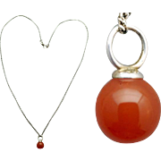 Luscious Carnelian Charm Necklace in Sterling Silver
