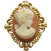 Vintage Cameo Perfume Locket Brooch Unused 1970 Mint Avon