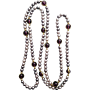 Long Elegant Necklace Faux Pearls and Amethyst Beads