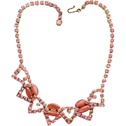 Vintage Pink Rhinestone Necklace Lacy Design 1950s