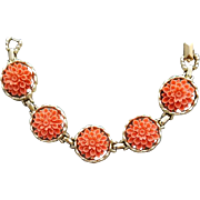 1950s Bracelet by Emmons with Coral Chrysanthemum Sets