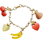 1960s Bracelet Moonglow Fruit Banana Apple Cherries Pear Strawberry