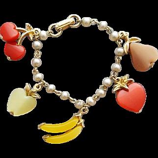 1960s Bracelet Moonglow Fruit Banana Apple Cherries Pear Strawberry
