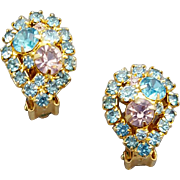 1960s Sparkly Rhinestone Earrings Pretty Pastels Clip Style