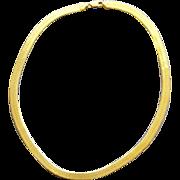 Heavy 20 inch  Sterling Vermeil Necklace Flat Herringbone Chain 21.5 Grams