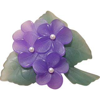 Frosted Purple Violets Brooch Feminine Sweetness Think Spring