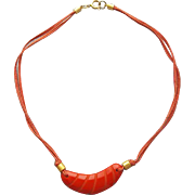 Unusual Red Bakelite Necklace Carved Crescent