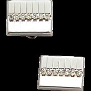 1960s Men's Cufflinks Silvertone Mid Century Mint