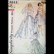 Vintage Sewing Pattern 1960s Wedding Dress Bust 34  Size Medium