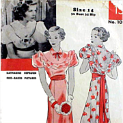 1930s Vintage Sewing Pattern Evening Dress or Wedding Gown  Katherine Hepburn