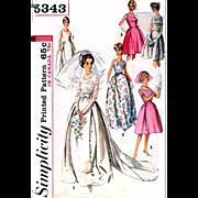 Size Large Vintage Wedding Dress Simplicity Sewing Pattern 5343