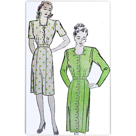 1940's  Sewing Pattern Dress  Bust 34 Variety Va Voom