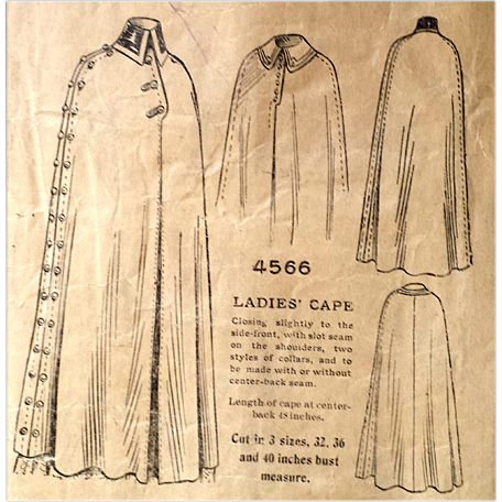 Rare 1905  Antique Sewing Pattern Women's Cape Bust 40 Military Style  4566