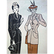 Extra Large 1940's Tailored Suit Vintage  Sewing Pattern Bust 38