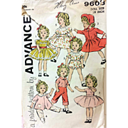 Vintage 19 inch Shirley Temple Doll Wardrobe Sewing Pattern Advance 9603