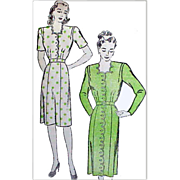 1940s Vintage Sewing Pattern Bust 38 Dress Sophisticated Silhouette