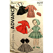 1950s Vintage 15 inch Doll Clothes Sewing Pattern Advance 9211 Uncut - Red Tag Sale Item