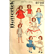 Butterick 8799 Vintage 15 inch Doll Clothes Hat Ginny Original Pattern