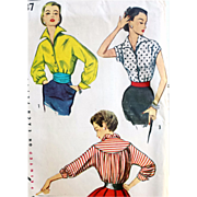 Vintage 1950s Dramatic Blouse Sewing Pattern Bust 34 - Red Tag Sale Item