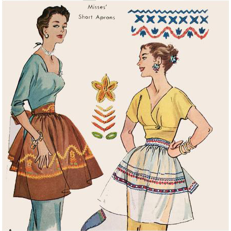 1950s Vintage Apron Sewing Pattern Uncut FF Embroidery