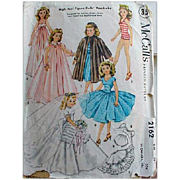 "Vintage 1950s McCall's 2162 Vintage 20"" Doll Clothes Sewing Pattern Fashion Bride"