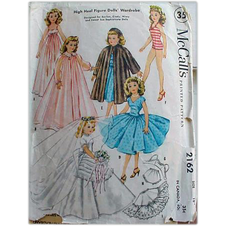 vintage 1950s mccall s 2162 vintage 20 quot doll clothes