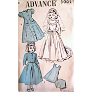 Vintage 15 inch 1940s Walker Doll Wedding Dress Clothes Sewing Pattern Uncut