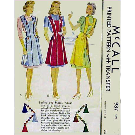 1940s Apron Sewing Pattern Size Extra Large McCall 987 Tassels and Embroidery