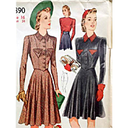 1940s Ice Skating Costume Sewing Pattern Bust 34 Uncut Simplicity 3890 - Red Tag Sale Item