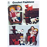 Vintage Toy Crochet Patterns Bear Tiger Lamb Dolls Simplicity Sewing