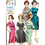 1960s Vogue Sewing Pattern Casual to Cocktail Dresses Bust 36 Size Large