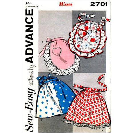 1950s Aprons One Size EASY SEW Pattern Fancy Plain Hostess