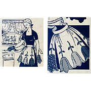 Vintage 1950s Half Apron and Potholder Sewing Pattern with Appliqued Tulips - Red Tag Sale Item