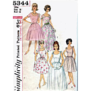 Simplicity 5344 Vintage Sewing Pattern Evening Gown Cocktail or Casual Dress Bust 34