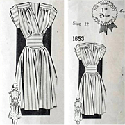 Vintage 1940s Classic Dress Sewing Pattern Size Extra Small