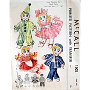 1940's Sock Dolls Sewing Pattern Ballerina Clown Sailor McCall 1502