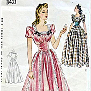 Vintage 1930s - 1940s Sewing Pattern Ball, Wedding Gown Evening Dress Bust 34 Simplicity 3421
