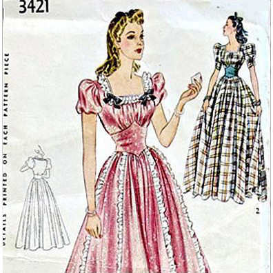 1930s-1940s Sewing Pattern Ball, Wedding Gown Evening Dress Medium Simplicity 3421