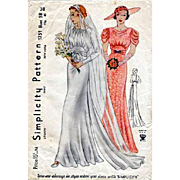 Vintage 1930s Wedding Dress Sewing Pattern Wedding Dress Evening Gown Bust 38