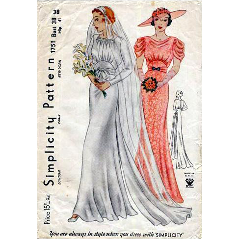Vintage 1930s Wedding Dress Sewing Pattern Wedding Dress Evening ...