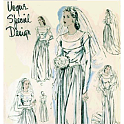 Rare 1940s Vogue Wedding Gown Evening Dress Vintage Sewing Pattern Bust 36