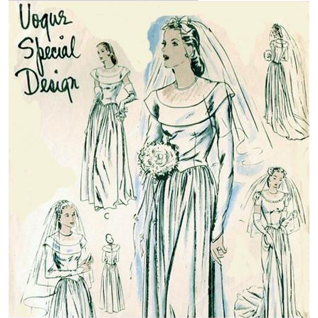 Rare 1940s Wedding Gown Sewing Pattern by Vogue or Evening Dress Bust 36