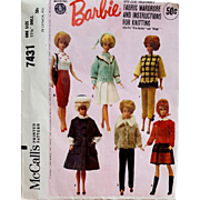 Vintage Barbie Doll Clothing Sewing Pattern 1964 McCall's 7431