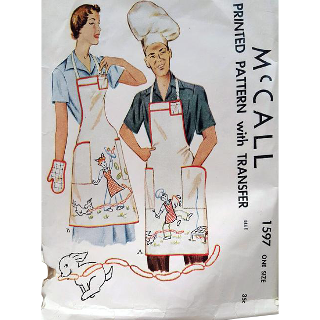 Unisex Vintage Sewing Pattern BBQ Aprons Hats Mitts Embroidery Transfer McCall 1597