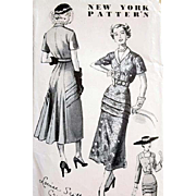 1940s New York Designer Vintage Sewing Pattern Stunning Dress Size Small