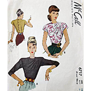 Vintage 1940s Sewing Pattern Draped Blouse Bust 32 McCall 6717